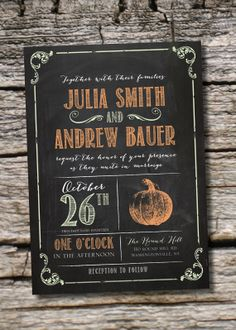 VINTAGE BLACKBOARD PUMPKIN Chalkboard Poster Wedding Invitation/Response Card - 100 Professionally Printed Invitations & Response Cards