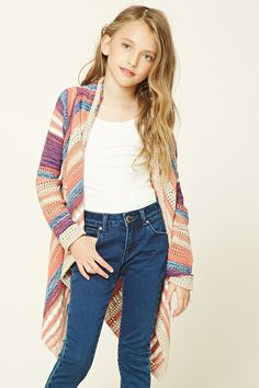 Forever 21 Girls - A knit cotton cardigan featuring an allover stripe pattern, allover cutout details, a draped open front, and long sleeves.