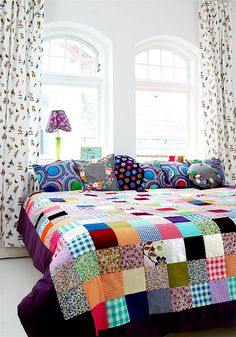 Patchwork and pillows.