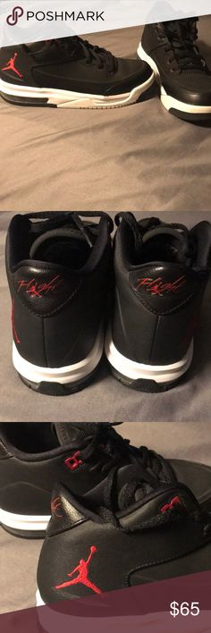 Jordan shoes Black and white shoes 5y (im a 7.5 women and they fit me slightly to small) Worn about 5-7 times Excellent condition Some damage on third pic Air Jordan Shoes Sneakers