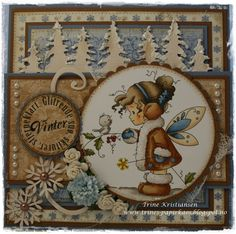 Trine paper chaos: Winter !!!Brown Coat Face: E21-51-50 Hair: E47-44-43-42 Brown: E39-37-35-33-31 Gray: W5-3-1-0 Wings: E53-51-50 Blue: B99-97-95-93