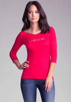 5a5247a5e4684 Bebe - Red Logo 3 4 Sleeve Cuff Top - Lyst