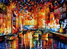 COPENHAGEN'S HARBOR — Artistic Signed Print on Cotton Canvas By Leonid Afremov