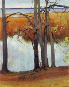 Lake Shore with Reeds , 1905 Eero Järnefelt Finnish, Oil on canvas, x cm Ateneum Art Museum, A II 798 Contemporary Landscape, Landscape Art, Contemporary Artists, Landscape Paintings, Helene Schjerfbeck, Nordic Art, Watercolor Trees, Tree Art, Art Museum
