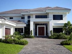 Plan W32051AA: Mediterranean, Premium Collection, Florida, Photo Gallery, Luxury, Contemporary, Corner Lot House Plans & Home Designs