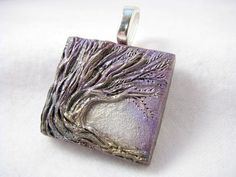 Sculpted Mixed Media Art Tile Tree Pendant Necklace Jewelry OOAK Polymer Clay - Light Pastel Purple Silver Grey. $16.00, via Etsy.