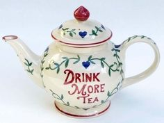 Emma Bridgewater Drink More Tea Four Cup Teapot made exclusively for Past Times