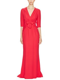 Silk Bow Front Gown by Carolina Herrera at Gilt