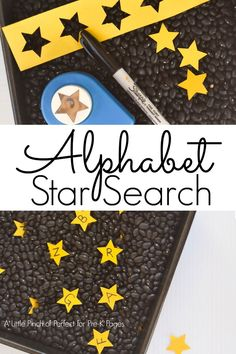 Space Frontier alphabet star search sensory play preschool - This alphabet star sensory bin is a fun activity for a night, space, or even Halloween theme; for preschool, pre-k, and kindergarten classrooms. Space Theme Preschool, Space Activities, Preschool Literacy, Preschool Lessons, Alphabet Activities, In Kindergarten, Preschool Activities, Preschool Rocket, Space Theme Classroom
