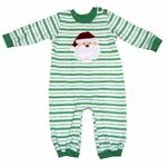 Wally & Willie Baby Boys Green Striped Romper - Santa Claus Face