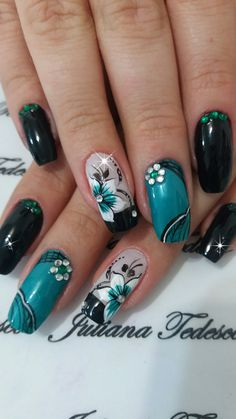 Teal, white and black nails Perfect Nails, Gorgeous Nails, Pretty Nails, Acrylic Nail Designs, Nail Art Designs, Acrylic Nails, French Nails, Fail Nails, Flower Nail Art