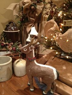 Old paper mache reindeer. I'm thinking it's from the 50's - 60's