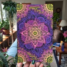 Moleskine notebook cover inspired by the colors in the new Instagram logo. Drawn freehand using Sakura Brand Gelly Roll pens in color palette Moonlight. #Freehand #GellyRollPens @sakuraofamerica @instagram @moleskine_arts Mandala Painting, Mandala Drawing, Mandala Art, Day Of The Dead Art, Diy Canvas Art, Mandala Coloring, Pattern Drawing, Art Challenge, Art Pages