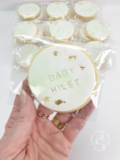 Mint, white and gold baby shower cookies that accompanied my sleeping baby under the moon cake.