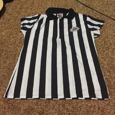 Miller Lite Ref Shirt Spandex-like shirt designed like a referee shirt with a Miller lite logo. 1/4 zip down with collar. Perfect condition! Tops Tees - Short Sleeve
