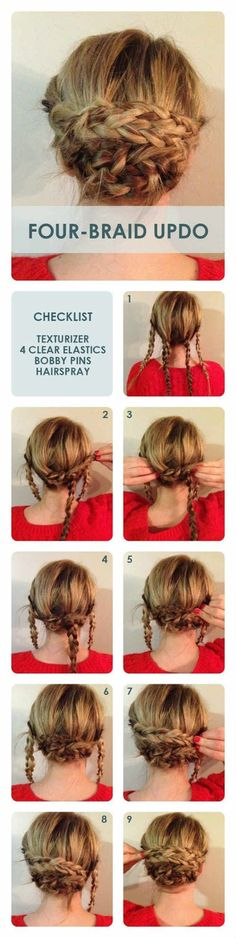 Four Braid Bun Updos: Updo Hairstyle Tutorial. this looks super easy actually (… Four Braid Bun Updos: Updo Hairstyle Tutorial. this looks super easy actually (I'm sure its not as simple as it looks. Lol) but I think this is… Continue Reading → Updo Hairstyles Tutorials, Pretty Hairstyles, Hair Tutorials, Hairstyle Ideas, Hair Ideas, Wedding Hairstyles, Hairdos, Hairstyles 2018, Easy Hairstyles Thin Hair