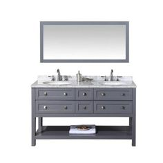 stufurhome Marla 60 in. W x 22 in. D Vanity in Grey with Marble Vanity Top in Carrara White with White Basins and Mirror
