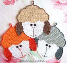 Sheep head potholder or decor crochet pattern
