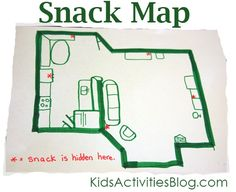 teach map reading skills by hiding snacks (or other items) and marking their locations on the map. Kids read the map to find the hidden items. (Might also be fun for birthday presents!)