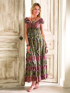Cap sleeve tiered maxi dress M/L (14-16) / Paisley Print, Dresses - Namaste, Boho City London