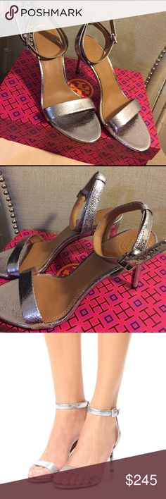 """NEW🎈 TORY BURCH PEWTER SANDAL 😑NO TRADES SORRY😑. Super stylish and feminine strappy sandal!   Pewter in color with wrap around ankle strap and 3.5"""" heel.  Dazzle a crowd in the beautiful ensemble.  Size 8.  NEVER WORN  comes with box and dust bag too🎈. Don't let this get away Tory Burch Shoes Sandals"""