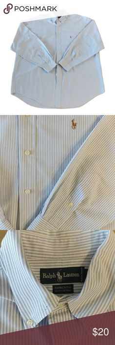 """Ralph Lauren Dress Shirt Size 17-35 Blue White Ralph Lauren Dress Shirt Size 17-35 Blue White Stripe Men's Button Down Yarmoth  Size:17-35 Color:Blue, White Style Type:Dress Shirt Fabric:100% Cotton Care:Machine washable Condition:Excellent Condition- no snags, tears, or stains noted! Measurements:Length 33""""; Pit-to-Pit 28""""; Waist 56"""" More Information:Point collar. Logo at left chest. Button closure cuffs. Allover striped print. Yarmouth. From a pet & smoke free home. Add 1 more item…"""