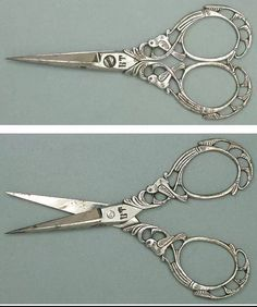 Ornate Antique Steel Filigree Birds Scissors Italian Circa 1890