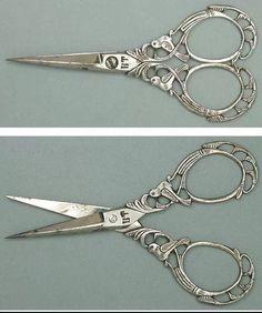 Ornate Antique Steel Filigree Birds Scissors  Italian Circa 1890