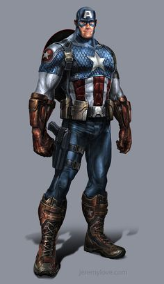 Captain America, video game concept art. Resembles the Ultimate universe version.