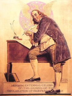 Norman Rockwell Ben Franklin's Sesquicentennial oil painting for sale; Select your favorite Norman Rockwell Ben Franklin's Sesquicentennial painting on canvas or frame at discount price. Norman Rockwell Prints, Norman Rockwell Paintings, Peintures Norman Rockwell, Illustrations, Illustration Art, Art En Ligne, Benjamin Franklin, Oeuvre D'art, American Artists