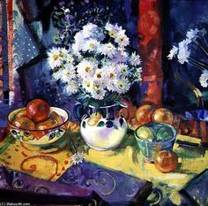 'Flowers And Fruit In A Green Bowl' by Peter Graham Ii
