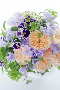 Peach peonies, purple pansies, sweet peas and maiden hair fern - DREAM BOUQUET