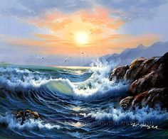 Decorate your home or office with our handmade paintings reproductions of Seascape in Realism-Impressionism style. Why settle for a print, poster, gic