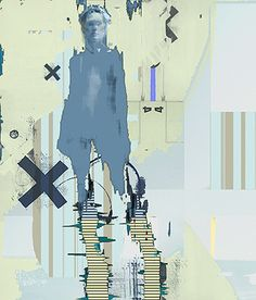 digital Gustlin clipart of line figure; painted in a solid colour a bit of the shadows showing; rest of colours and shapes; blue dark blue grey and white, with a bit of black dd