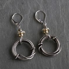 Oxidized Sterling with Gold Bead Earrings
