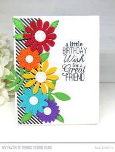 Stamping A Latte: July MFT Birthday Project Challenge! Handmade Birthday Cards, Happy Birthday Cards, Birthday Greetings, Greeting Cards Handmade, Flower Birthday Cards, Happy Birthdays, Card Birthday, Diy Birthday, Birthday Ideas
