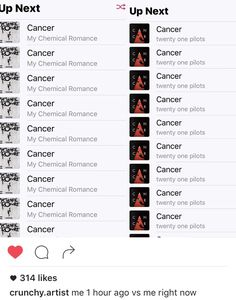 same. And while we're on the subject, can I just point out that Cancer by MCR is THE saddest song I've ever heard. But I love it.