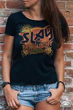 Fight for equal rights and smash the patriarchy in soft grunge style with this funny feminist shirt. Inspired by vintage heavy metal concert tees and loaded with girl power, this feminist AF shirt will make a great gift for your favorite feminist killjoy or feminism advocate. #slaythepatriarchy #feministshirt #heavymetaltee #feministafshirt #funfeministshirt