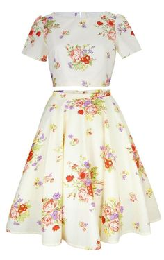 Cream Floral Crop Top And Skirt Set    Style Icon`s Closet