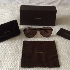 Tom Ford Aviator Sunglasses Tom Ford Charles aviators. Black and silver metal frames with brown lenses. No scratches. Perfect condition Tom Ford Accessories Sunglasses