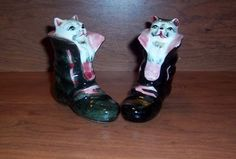 Vintage Puss N Boots Cat in A Boot Salt Pepper Shakers   eBay