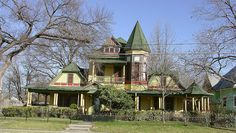Greenville TX Queen Anne Victorian  This 1890s Queen Anne style home is the most colorful one in Greenville. Although the town once had hundreds of Vic. era homes now only a few survive. Most of Northeast Texas towns have seen major losses of Victorian era architecture especially since the 1960s. I recall in the 1970s seeing block after block of decaying 1800s homes being rapidly demolished-in the 21st century only a small sample survives. This is one of the lucky ones.