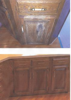 Before and after picture of oak cabinets refinished.