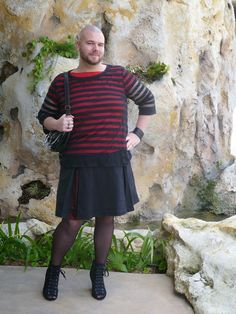 """""""Mr. Spookshow runs a blog about freestyle fashion for men- he writes """"As we approach androgyny we must first come into the area I fall into, men who ignore the gender label on clothing. This man will wear skirts, dresses, tights, heels, whatever, but will still keep his appearance male. He believes that clothing has no inherit gender, and that it's silly to put such restrictions on fabric. Speaking personally, to me it's about men having a full range of expression and experiences.""""""""… Gender Spectrum, Mode Alternative, Gender Binary, Gender Issues, Men In Heels, Style Masculin, Genderqueer, Gender Bender, Mens Fashion"""