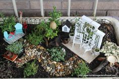 miniature garden example( Just saw all the tiny furniture at meijer around $2.99 a piece!)