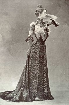 """1901 December, Les Modes Paris - Evening dress """"Colibri"""" by Ernest Raudnitz"""
