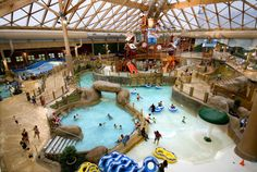 Massanutten Resort in the Shenandoah Valley, Virginia has an indoor water park featuring surfing and body boarding, high speed water slides, lazy river & 2 hot tubs for year-round fun! #TMOM