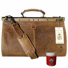 Doctor bag - Men's top-handle bag PARZIVAL of brown Grassland-Leather - leather care included Medical Bag, Leather Handbags, Messenger Bag, Shoulder Strap, Brown Leather, Satchel, Baron, Purses, Doctors