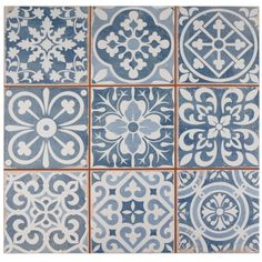 The SomerTile 13x13-inch Faventia Azul Ceramic Floor and Wall Tile features six squares, floral designs, imitations of scuffs and spots, red porcelain and faded denim blue.  Bring rustic charm to your interior or exterior with this easy-to-maintain look.