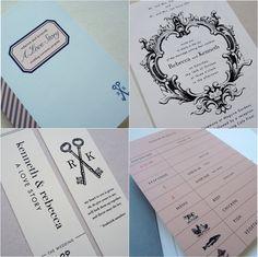 library themed wedding invites/programs.